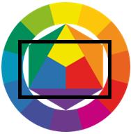 Цветовой круг по Иттену цветовая схема Прямоугольник